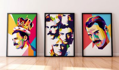 Kit 3 Quadros Decorativos Temáticos Freddie Mercury - Abstract Queen