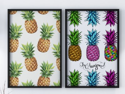 Kit 2 Quadros Decorativos Pinealpple & Abstract Pineapple