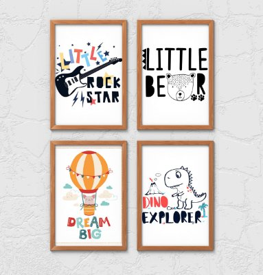 Kit 4 Quadros Decorativos Infantis Cute Cartoons