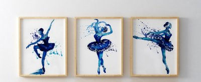 Kit 3 Quadros Decorativos Juvenil Blue Ballerinas