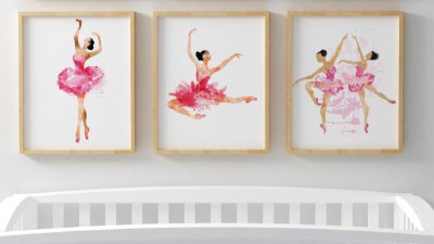 Kit 3 Quadros Juvenil Ballet Dancer