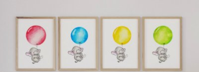 Kit 4 Quadros Infantis Cute Elephant With Balloon