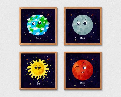 Kit 4 Quadros Cartoon Planets And Sun
