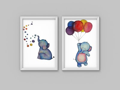 Kit 2 Quadros Infantis Elephants Bubble & Ballon