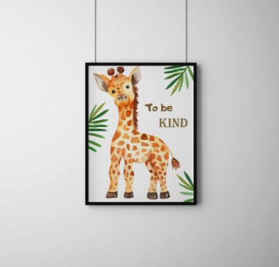 "Quadro Decorativo Infantil Giraffe ""To Be Kind"""