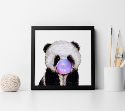 Quadro Decorativo Cute Panda Bubble Gum