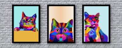 Kit 3 Quadros Decorativo Juvenil Abstract Cat