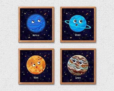 Kit 4 Quadros Infantis Decorativos Cute Cartoon Planets Neptune Uranus Venus Jupiter
