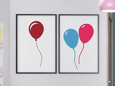 Kit 2 Quadros Decorativos Infantis Balões