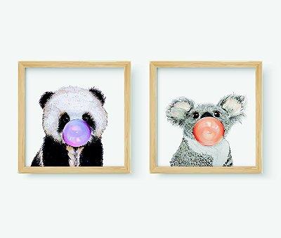 Kit 2 Quadros Infantil/Juvenil Cute Panda And Coala Bubble Gum