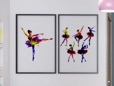 Kit 2 Quadros Decorativos Juvenil Feminino Abstract Ballerinas