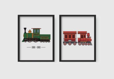 Kit 2 Quadros Decorativos Cartoon Little Trains