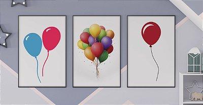 Kit 3 Quadros Infantis Colored Ballons