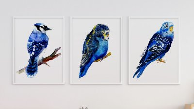 Kit 3 Quadros  Abstract Blue Birds Painting