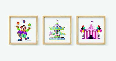 Kit 3 Quadros Infantis Decorativos Temático Circo
