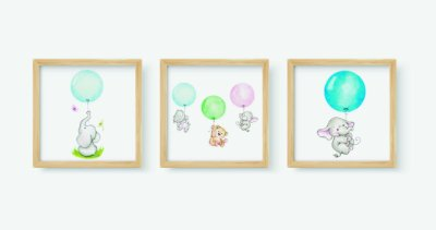 Kit 3 Quadros Infantis Cute Elephants Holding In Balloons