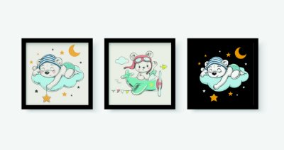 Kit 3 Quadros Decorativos Infantil Cute White Bear Sleeping and Flying