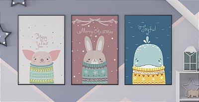 Kit 3 Quadros Decorativos Infantis Cute Cartoon Happy New Year Merry Christmas And Toyful