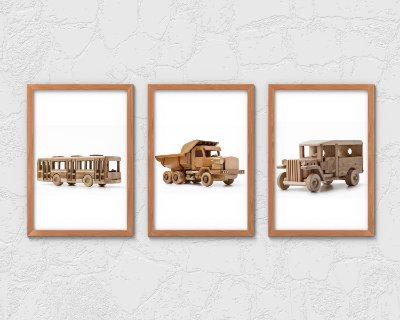 Kit 3 Quadros Juvenil Wooden Bus And Trucks