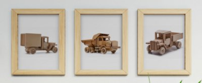 Kit 3 Quadros Infantil Wooden Toys Trucks
