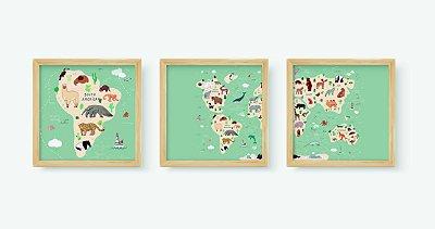 Kit 3 Quadros Infantis Cartoon Continuous Maps