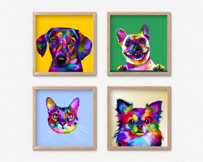 Kit 4 Quadros Decorativos Abstract Cat And Dogs
