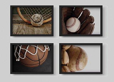 Kit 4 Quadros Juvenil Temático Esportivos Baseball And Basketball