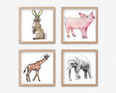 Kit 4 Quadros Decorativos  Cartoon Animals