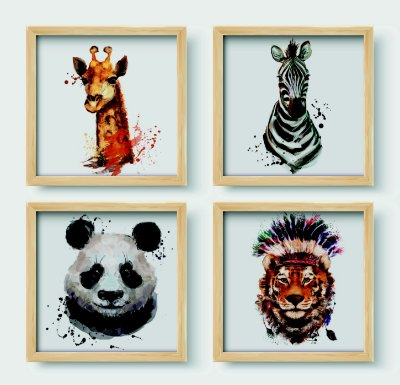 Kit 4 Quadros  Wild Animals Painting