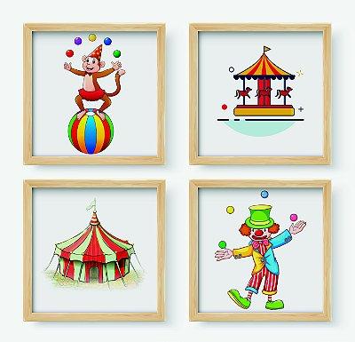 Kit #1 - 4 Quadros Decorativos Infantil Temático Circo