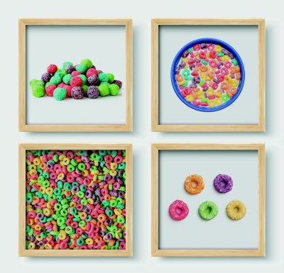 Kit 4 Quadros Decorativos Infantil Colorful Cereal For Kids