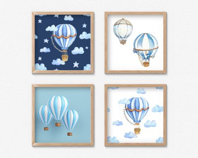 Kit 4 Quadros Decorativos Infantis Adventure Hot Air Ballon