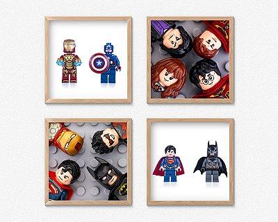 Kit 4 Quadros Decorativos Infantil/Juvenil Lego Marvel, DC Hereos And Harry Potter