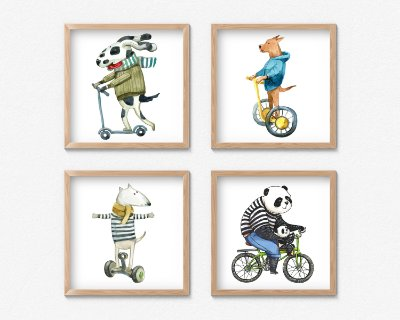 Kit 4 Quadros Decorativos Infantil/Juvenil Smiling Animals