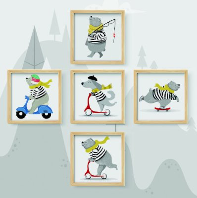 Kit 5 Quadros Decorativos Infantil/Juvenil Cartoon Grey French Animals