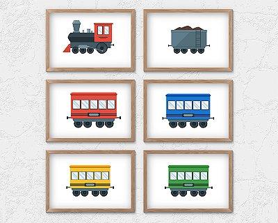 Kit 6 Quadros Decorativos Infantis Steam Locomotive + 4 Passangers Cars