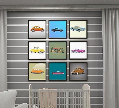 Kit 9 Quadros Decorativos Infantis Classic Cars