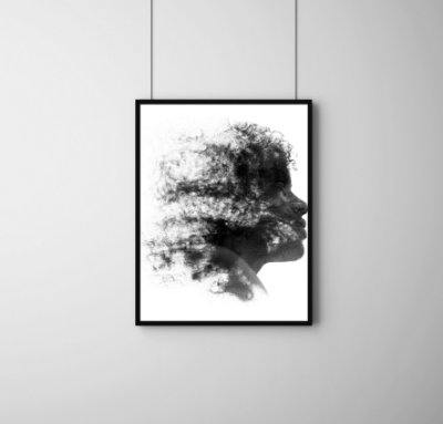Quadro Decorativo Abstrato Side Profile Face Abstract