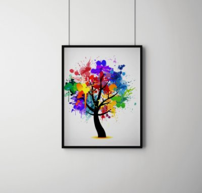 Quadro Decorativo Abstract Colorful Tree