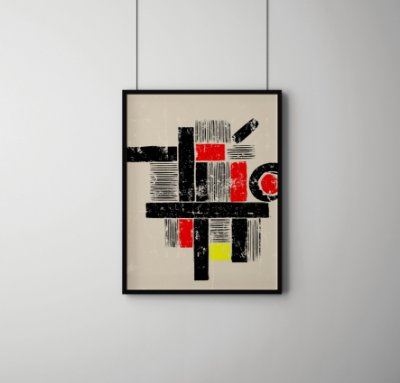 Quadro Decorativo Abstract Geometric Art In The Bauhaus Tradition