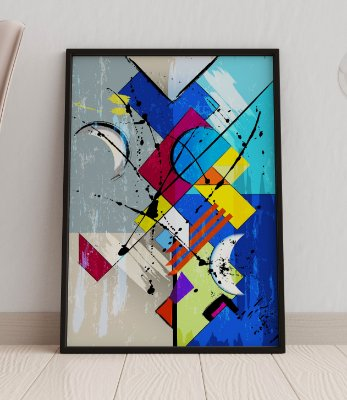 Quadro Decorativo Abstract Splashes And Geometric Lines