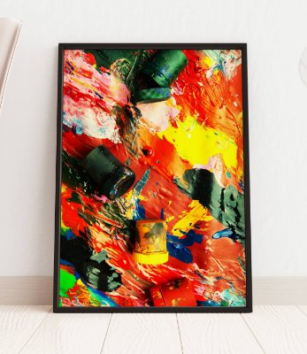 Quadro Decorativo Oil Paints Multicolored Closeup Abstract Background