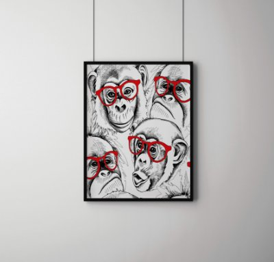 Quadro Decorativo Character Monkey Portraits In Red Glasses