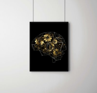 Quadro Decorativo Gears And Machine Part In Shape Of Brain