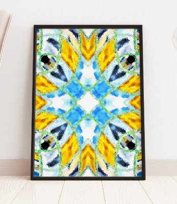 Quadro Decorativo Abstrato Melting Colorful Symmetrical Square Pattern For Textile