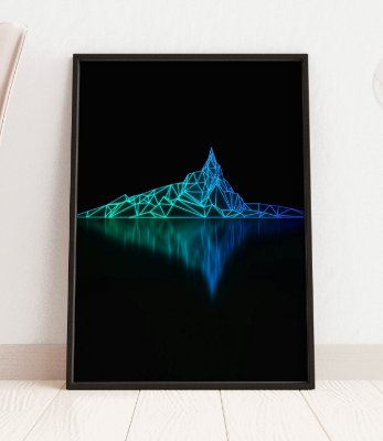 Quadro Decorativo Abstract Futuristic Dark Background With Low Poly Image Of Mountain And Its Reflection