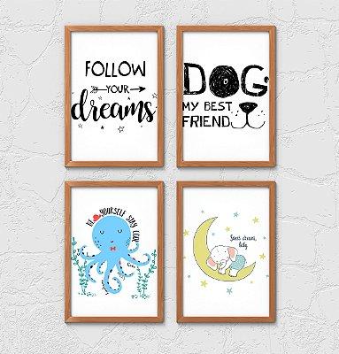 Kit 4 Quadros Decorativos Infantis Animals Motivation Phrases
