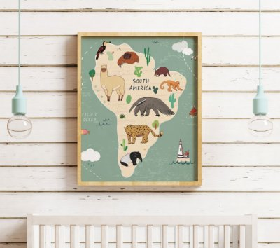 Quadro Decorativo Infantil South America Cartoon Map