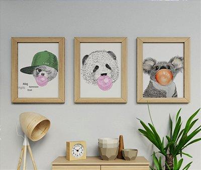 Kit 3 Quadros Infantis Dog , Panda , Coala Bubble Gum