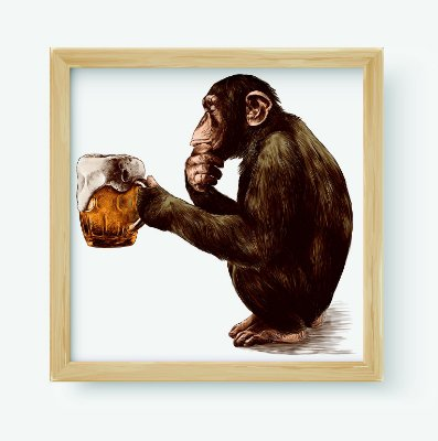 Quadro Decorativo Gourmet Monkey Thoughtful Look And Holding In Its Paws A Glass Of Beer